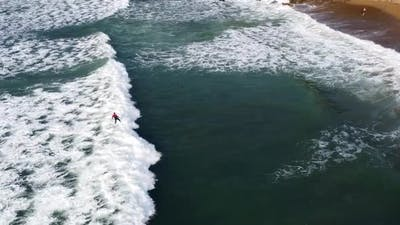 Sea Waves And Surfing, Aerial View, Spain