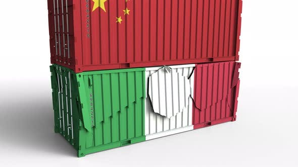Thumbnail for Container with Flag of China Breaks Container with Flag of Italy