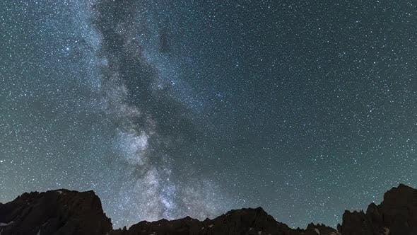 Thumbnail for Time Lapse: the Milky way galaxy and stars rotation over the majestic Italian French Alps. Night sky