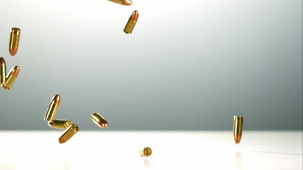 Thumbnail for Bullets falling bouncing in ultra slow motion