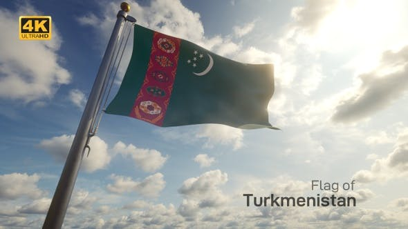 Turkmenistan Flag on a Flagpole - 4K