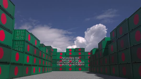Thumbnail for Cargo Containers with MADE IN BANGLADESH Text and Flags