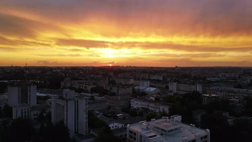 Big City At The Crimson Sunset