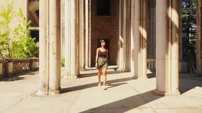 Female Person Admire Old Architecture Site