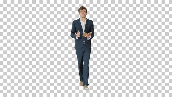 Thumbnail for Young businessman thinking and writing, Alpha Channel