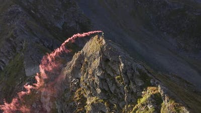 Aerial View Of Smoke Bomb In The Mountains