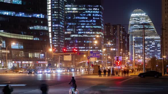 Thumbnail for Wangjing Subdistrict with Chinese Road in Beijing Timelapse