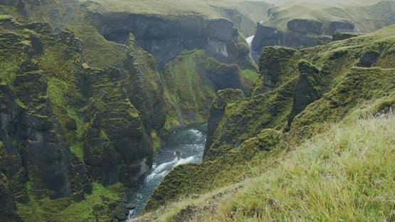 Fjadrargljufur Canyon with Grass Hills