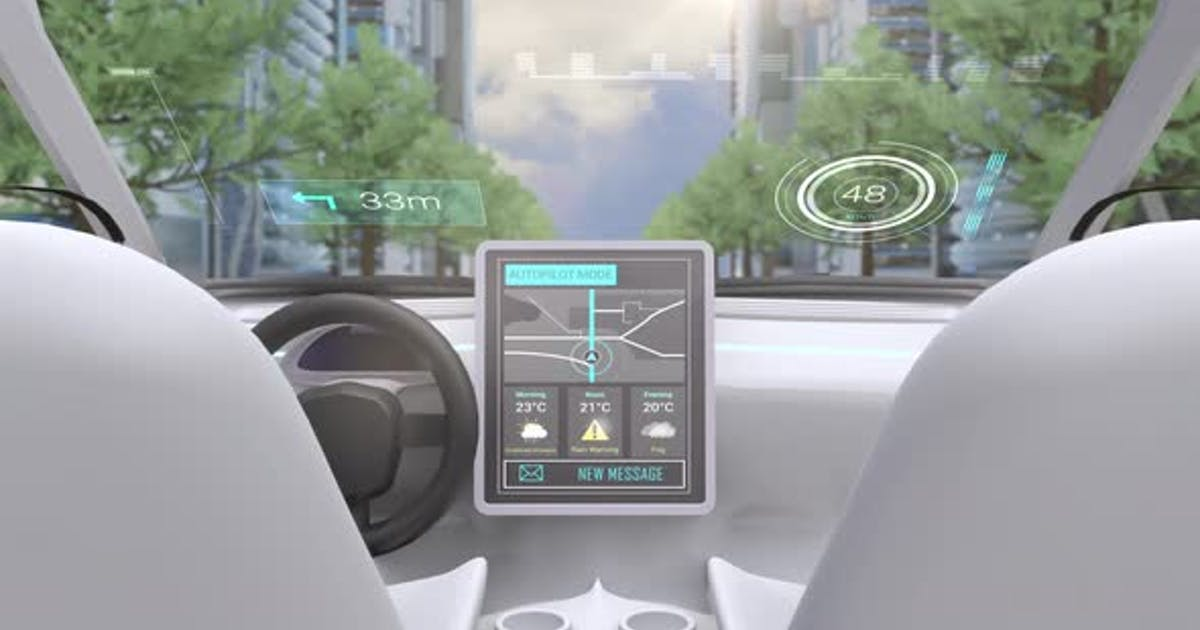 Video game simulation screen showing car cockpit driving through city streets