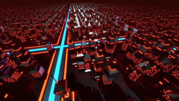 Retro Arcade Computer game Space city