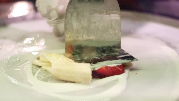Shredding Strawberries and Bananas for Making Thai Ice Cream. Natural Ingredien
