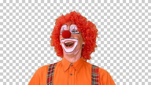 Happy walking clown looking to the sides, Alpha Channel
