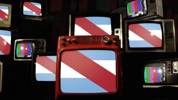 Thumbnail for Flag of Entre Rios Province, Argentina, and Retro TVs.