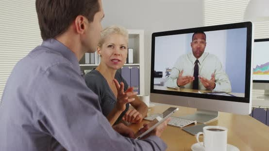 Thumbnail for Business colleagues having a video conference