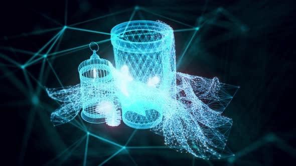 Industrial Vase Hologram Close Up 4k