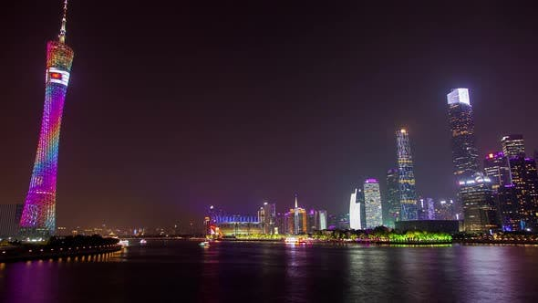 Canton Tower Near Wide Calm Pearl River in China Timelapse