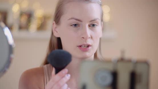 Thumbnail for Female Blogger Makeup Artist Teaching Doing Makeup on Line