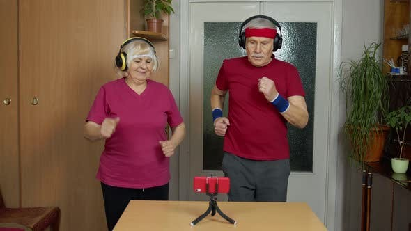 Thumbnail for Grandmother Grandfather Doing Healthy Lifestyle Workout Training Fitness Sport Activity at Home