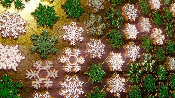 Thumbnail for Golden Snowflakes Glitter Green 17