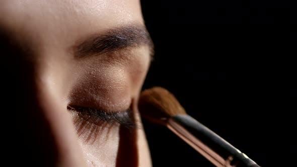 Thumbnail for Artist Applying Eyeshadows. Black. Makeup. Closeup