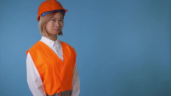 Thumbnail for Beautiful Worker in Uniform Shows Sign Like