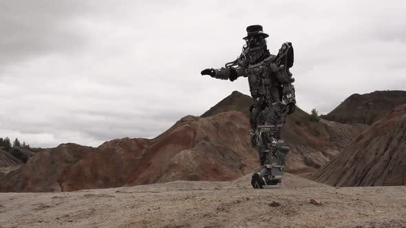 Robot Walking In A Desert Landscape