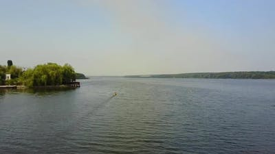 Kayakers Training On Canoe. Active children training in kayak on the river