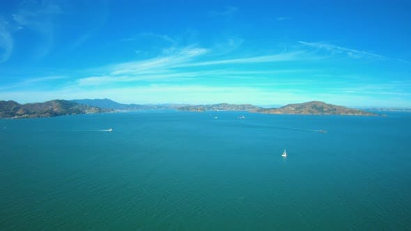Thumbnail for Sailboats In San Francisco Bay Aerial View From Helicopter