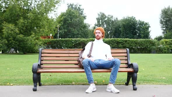 Thumbnail for Beard Man Sitting on Bench and Leaving the Park, Red Hairs