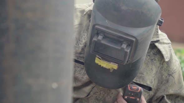 Welder During Welding. Close-up. Kyiv. Ukraine.