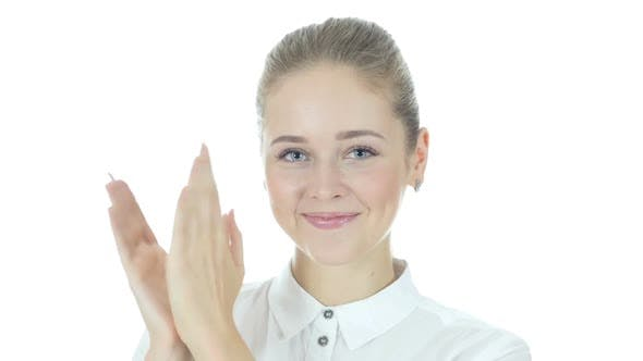 Thumbnail for Applauding, Business Woman Clapping for Team, White Background