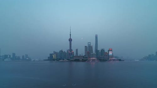 Shanghai, China   Shanghai's Skyline from Day to Night as seen from the Bund