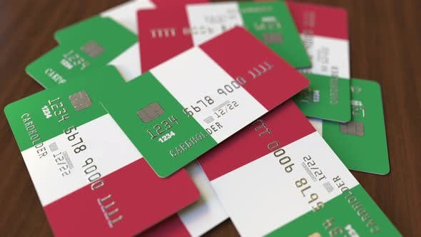 Thumbnail for Pile of Credit Cards with Flag of Italy
