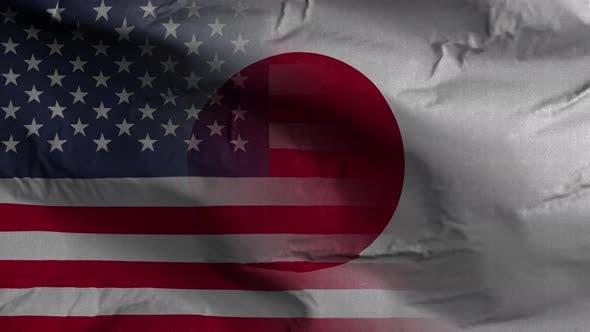 USA Japan Flag Mix Textured Waving Background 4K