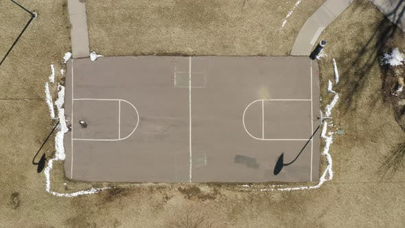 Thumbnail for Outdoor Basketball Court Urban Aerial Drone View Top Shot Empty No People