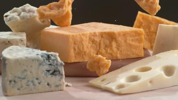 Variety of cheese in super slow motion.  Shot on Phantom Flex 4K high speed camera.