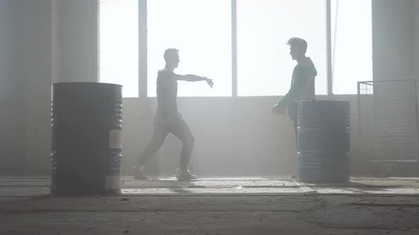 Thumbnail for Urban Dance Battle of Two Street Dancers in an Abandoned Building Near the Barrel