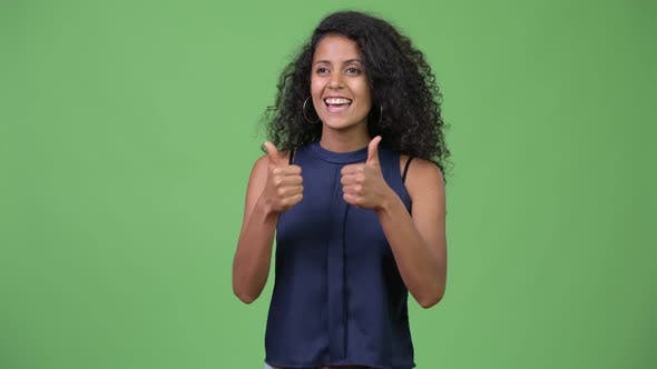 Thumbnail for Young Beautiful Hispanic Businesswoman Giving Thumbs Up
