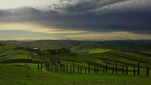 Tuscany Landscape with Cypresses, Timelapse