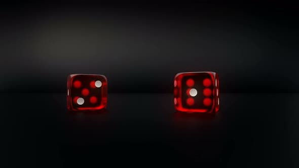 Thumbnail for Pair Of Red Glass Casino Dice Roll Slow Motion Result Four And Two