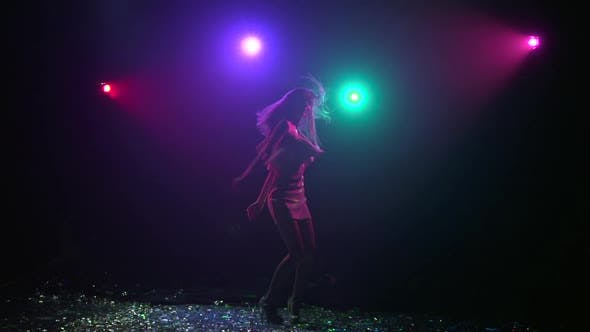 Thumbnail for Dance of Silhouette Girl with Disco Style Lights, Slow Motion