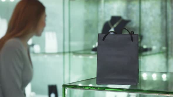 Thumbnail for Selective Focus on a Shopping Bag Woman Choosing Jewelry on the Background