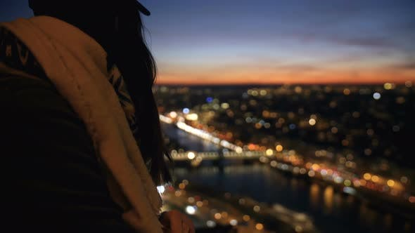 Thumbnail for Beautiful Happy Young Tourist Woman Watching Incredible Sunset City Sky From View Point, Smiling