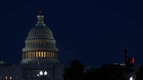 American Capital Building in Washington DC of Illuminated Dome at Night