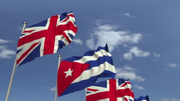 Flags of Cuba and the United Kingdom