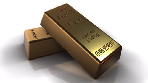 The Gold Ingots In White Background Hd