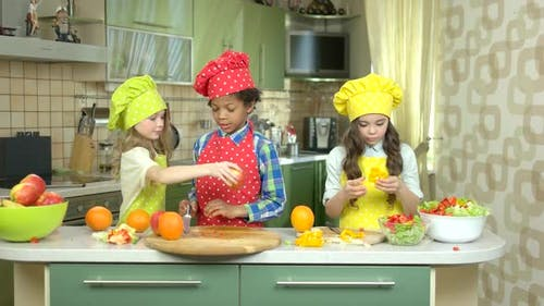 Children Cooking at Kitchen Table.