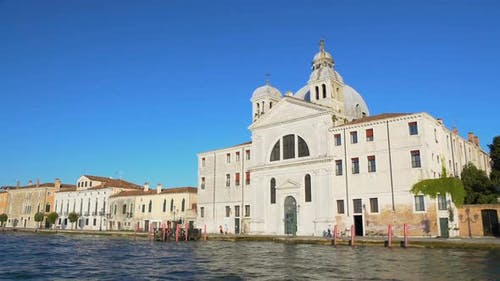 Beautiful Antique Hotel With Cupola in Venice, View on Building From Boat