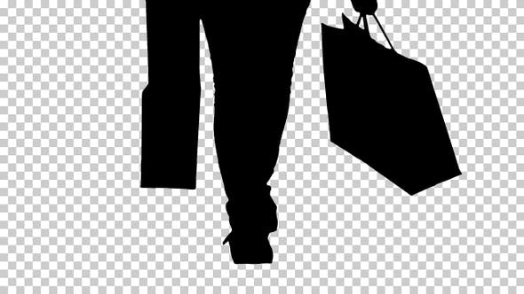 Thumbnail for Silhouette Little girl with shopping bags walking, Alpha Channel