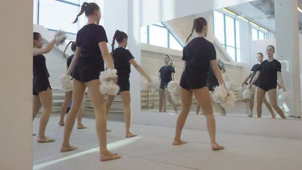 Girls at Cheerleading Practice